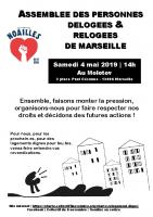Affiche assemblée des délogé.es du 4 mai 2019 -collectif du 5 novembre